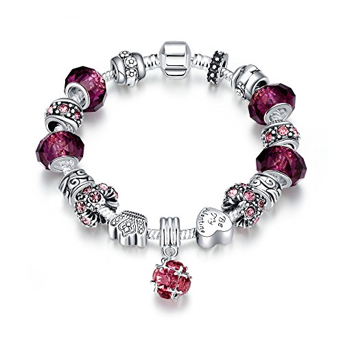 LDUDU® Pulsera Charms de Mujer Plateado de Plata con Charms de Cristal de Murano Regalo para Mujer Niña Cumpleaños Navidad San Valentin (Estilo de púrpura)