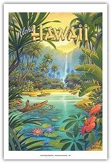 Aloha Hawaii - Vintage Style Hawaiian Travel Poster by Kerne Erickson - Master Art Print - 12 x 18in