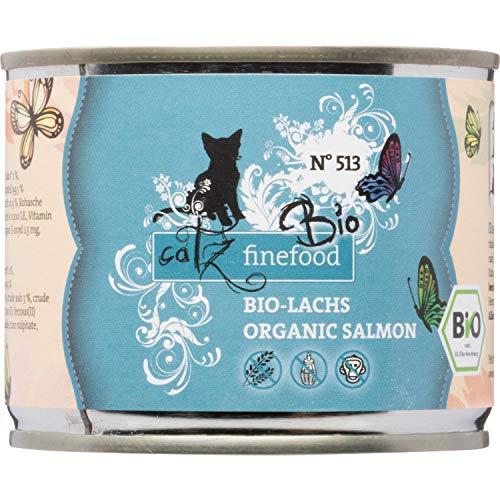 catz finefood Bio Katzenfutter Lachs - N° 513 - Nassfutter für Katzen - 6 x 200 g - Ohne Getreide & zugesetzten Zucker (1,2 kg)