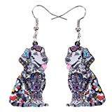 DUOWEI Acrylic Floral Labrador Dog Earrings Cartoon Pets Dangle Drop Pet Jewelry for Women Ladies Girls Lovers Fashion Gifts (Black)