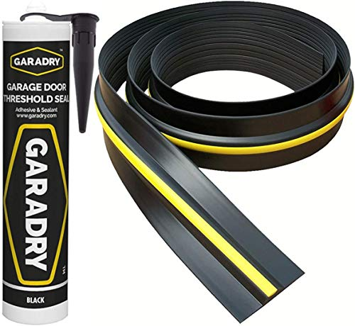 Weather Stop 15 mm (Höhe) Bodenabdichtung für Garagentore | 3,12 m | PVC schwarz/gelb | Kleber im Kit enthalten