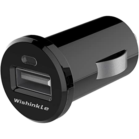 Wishinkle Car Charger Mini 12W/2.4A Fast USB Charger Adapter with Bule LED Compatible with iPhone 11/11 pro/XR/X/XS, Samsung Note 9/Galaxy S10/S9/S8 and More, Black