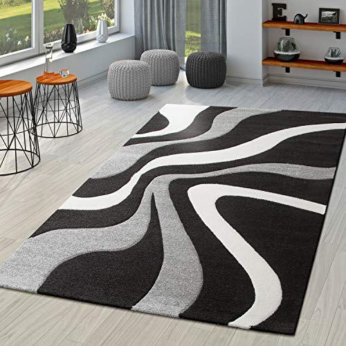 TT Home Alfombra Diseño Contorneada Motivo Ondas Negro Gris Blanco, Größe:80x150 cm