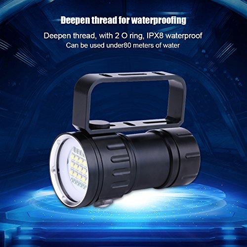 Omabeta Linterna subacuática Linterna de Campamento Impermeable IPX8 18000lm 500M Interruptor de presión Doble para Exteriores