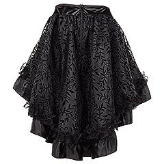 Bslingerie® Ladies Gothic Steampunk Asymmetrical Lace Short Skirt Plus Size (Black, L) #2
