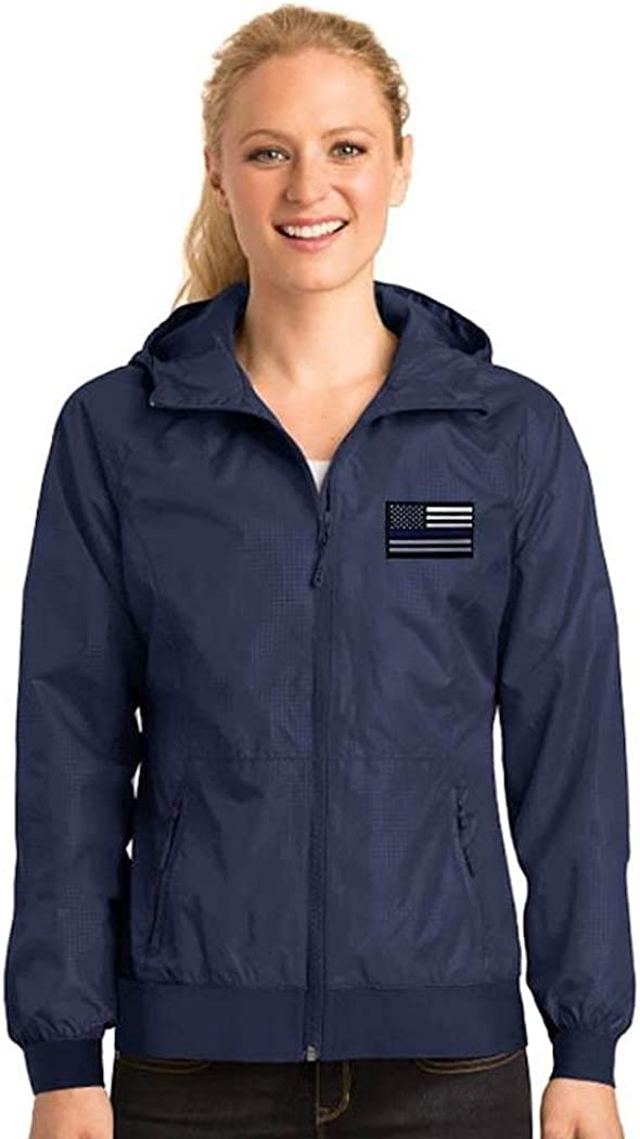 Women's Thin Blue Line Embossed Hooded Wind Jacket (X-Large, Navy, one_size)