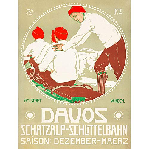 Wee Blue Coo Prints TRAVEL Winter Sport Sleigh BOB Davos Switzerland Art Print Poster 30X40 cm 12X16 IN Reise Schlitten Schweiz Kunstdruck