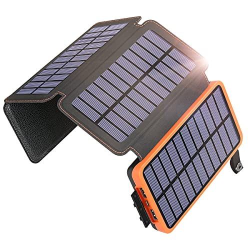 Solar Charger 25000mAh SOARAISE Solar Power Bank with 4 Foldable Solar Panels and Dual Outputs, Portable Phone Charger for Camping Hiking Compatible with Smartphones and Tablets