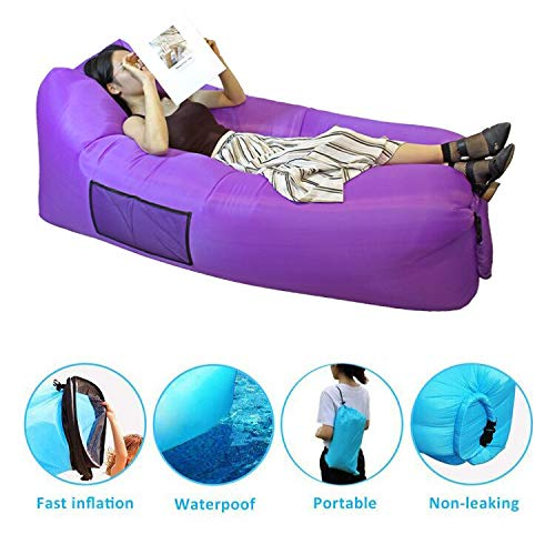 SIEMOO Inflatable Lounger - Outdoor Best Air Lounger Air Sofa for Travelling, Camping, Hiking - Ideal Inflatable Couch for Pool and Beach Parties Music Festivals Camping Picnics (Purple)