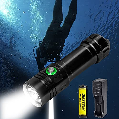 Linterna de buceo, linterna de buceo 2000 lúmenes superbrillante XML-L2 luz buceo IPX8 impermeable sumergible 100m luces sumergibles con orificio para soporte de fotografía, para deportes subacuáticos