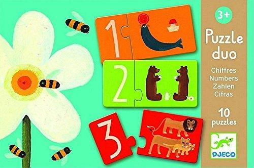 Djeco DJ08151 Puzzle Duo Numbers, Multicolour