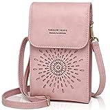 Women Mini Crossbody Bag Small Cellphone Shoulder Bag Phone Purse Card Slots Sunflower 1933-2PINK