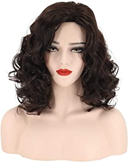 Hairpieces Hair Extension Ladies Fashion Dark Brown Wig African Small Curly Wig Set 42cm Hair Weave