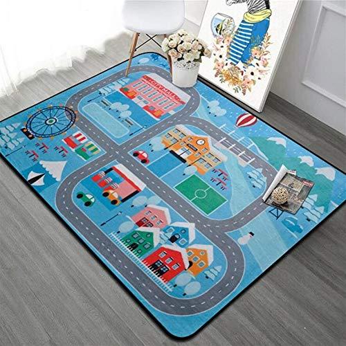 DYHM 1pcs Straße Schlafzimmer Teppich Wohnzimmer Teppich Weichboden Baby-Spiel-Matte Anti-Rutsch-Decke Waschbare Spielzeug (Color : E, Size : 180cmX120cm)