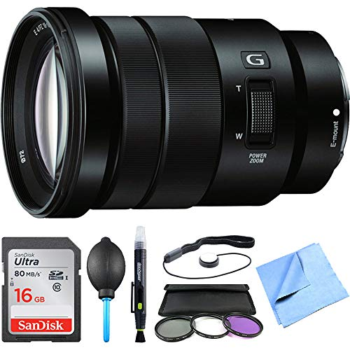 Sony SELP18105G - E PZ 18-105mm f/4 G OSS Power Zoom Lens Bundle with 16GB Memory Card, 72mm UV, Polarizer & FLD Deluxe Filter kit, Lens Blower, Lens Cleaning Pen, Cloth and Accessories (5 Items)