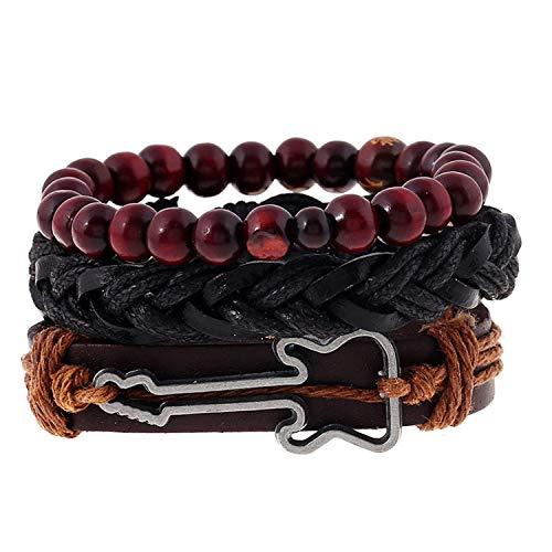 Armband Armreif,Schmuck Geschenk, Fashion 4Pcs/Set Handmade Trendy Vintage Bracelets Female Homme Male Punk Wood Bead Charm Men Leather Bracelet for Women Jewelry 39