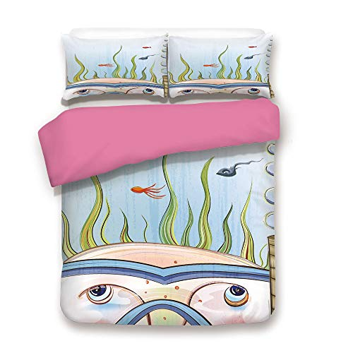 Quirky Decor 3D Duvet Cover Set Snorkeling Kid Child Underwater Fishes Algae Bubbles Summer Season Holiday Decorative Comnforter Set King,Best Gift for Valentines'Day Birthday Multicolor