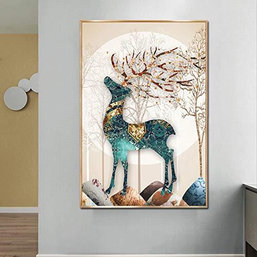 jijimidianzi GFJJTRB,Pintura de la Lona de la decoración de la Pared Ciervo Abstracto Minimalista decoración de la Pared del hogar sin Marco Pintura artística-60x80cm