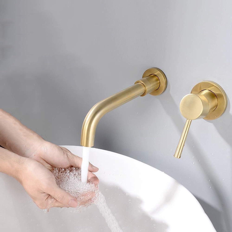 Homthing Wasserhahn Kupfer gebürstet Gold kaltes heies Wasser Bad Wand Waschbecken Wasserhahn kann gedreht Werden