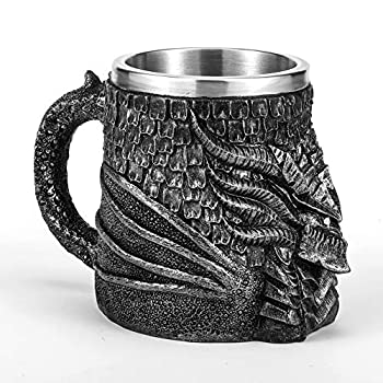 Medieval Dragon Beer Mug Stainless Steel Coffee Cup Gift Mug for Dragon Collector Themed Party Decoration,Viking Tankard Drinkware Mug for Coffee/Beverage/Juice 17oz.