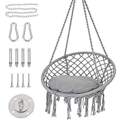 Patio Watcher Hammock Chair Macrame Swing with Cushion and Hanging Hardware Kits, Handmade Knitted Mesh Rope Swing Chair for Indoor, Outdoor, Home, Bedroom, Patio, Yard?Deck, Garden, Gray