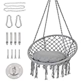 Patio Watcher Hammock Chair Macrame Swing with Cushion and Hanging Hardware Kits, Handmade Knitted Mesh Rope Swing Chair for Indoor, Outdoor, Home, Bedroom, Patio, Yard,Deck, Garden, Gray