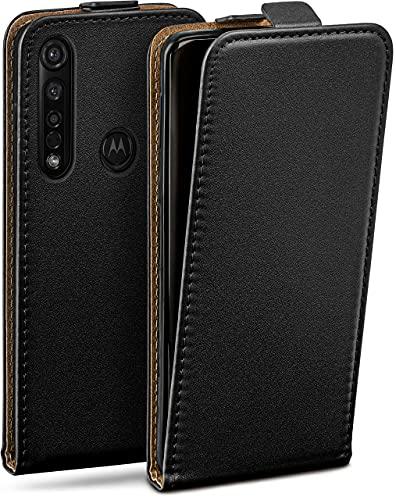 moex Flip Hülle für Motorola Moto G8 Plus - Hülle klappbar, 360 Grad Klapphülle aus Vegan Leder, Handytasche mit vertikaler Klappe, magnetisch - Schwarz