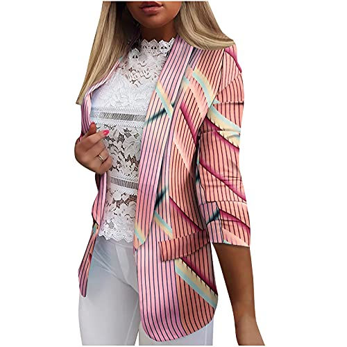 Womens Casual Blazer Open Front Business Attire Printed Suit Work Office Jacket Long Cardigans Coats Slim Pocket Tops Pink