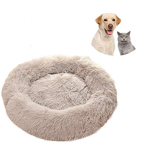 Pejoye Cama para Gatos Mullida, Cama Calmante para Gatos Cama Lavable para Gatos Donut Cama de Algodón PP con Fondo Antideslizante Extremadamente Suave y Cómodo, Apto para Gatos