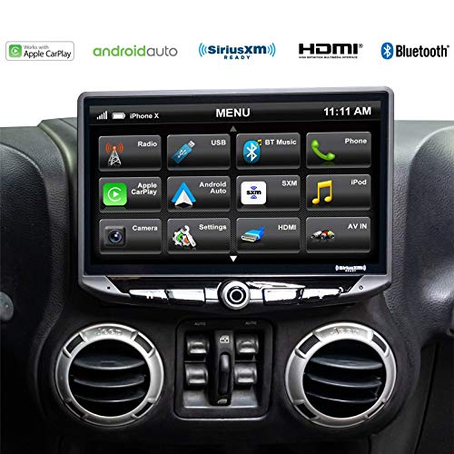 STINGER - Stereo Replacement 10-Inch Touchscreen Radio with Android Auto, Apple CarPlay, Bluetooth, GPS, Dual USB Includes Dash Kit & Interface for Jeep Wrangler JK (2011-2018)