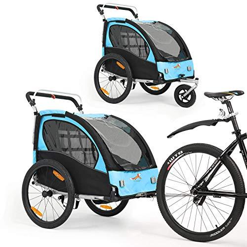 2 in 1 Fahrradanhänger 360 ° drehbarer Kinderwagen Zweisitzer mit Griffbremse und Radschutz Baby-Jogging-Gerät BT502 (Blau)