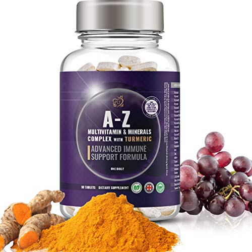 Multivitamins and Minerals Complex with Turmeric, Iron and Zinc | Advanced Immune Booster | 3 Month Supply | Multivitamin Tablets for Women and Men | Suitable for Vegetarian | Made in The UK by PLT