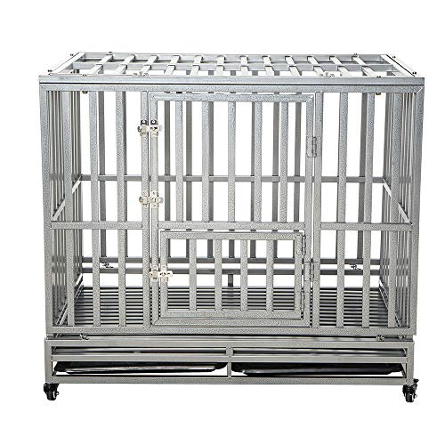 LUCKUP Heavy Duty Dog Cage Strong Metal Kennel and Crate for Medium and Large Dogs, Pet Playpen with Four Wheels, 42 inches, Silver