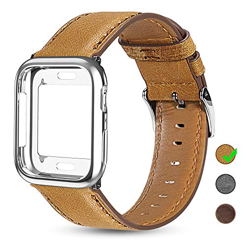 OULUOQI Leather Bands Compatible with Apple Watch 38mm 40mm with Soft Protective Case, Classic Business Genuine Leather Bands for iWatch Strap Series 5/4/3/2/1