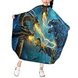 Godzilla King of the Monsters Kid's Haircut Cape Apron Salon Barber Hair Dye Cape Styling Black Comb-Out Makeup Artists shampoo Polyester/Teenager/Boys/Girls-39x47 inch
