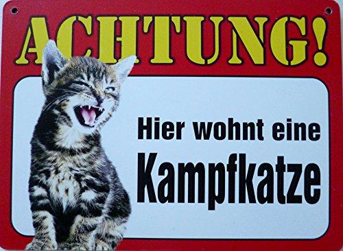 vielesguenstig-2013 Schild 14x19cm - Hier wohnt eine Kampfkatze Katze Haus Alu Coupon dipond