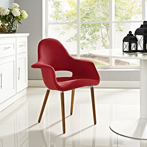 Mid-Century Modern Upholstered Fabric Dining Chair with Wood Legs in Red