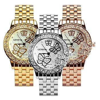 Weicam Women 3 Pc Simple Crystal Butterfly Watch Analog Quartz Wrist Watches Jewellery