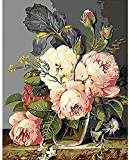 sdfgea Ital Oil Painting by Numbers Handwork Gift Set of Floral Flowers Pattern on Cloth Print Decoration para el hogar -with Frame-40x50cm