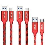 CHOETECH Câble USB Type C, 3 Lots de[ 1m+ 2m+ 2m ] Câble Charge USB vers USB C en Nylon tressé pour Galaxy A70/A50/S20/S10/S9/S8/S7,Huawei Mate 30 Pro/20/10,P30 Pro/P20/P10