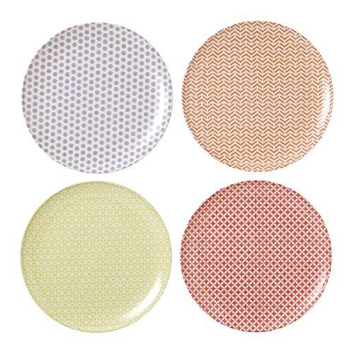 Royal Doulton Lot de 4 Assiette 25 cm Pastels, Mélamine, Multicolore, 25.2 x 25.2 x 2.1 cm