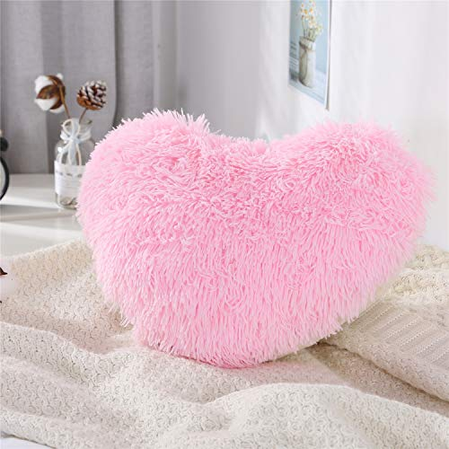 MOOWOO Fluffy Heart Pillow, Shaggy Plush Faux Fur and Sherpa, Cute Soft Throw Cushion, Decorative for Home Bed Couch - Pink, Heart Shaped