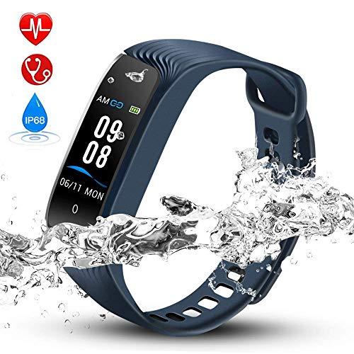 Hommie Fitness Tracker Impermeabile IP68 Braccialetto Pedometro con GPS, Contatore Passi e Calorie, Notifiche, Monitoraggio Sonno per Donne Bambini e Uomini, Blu S4