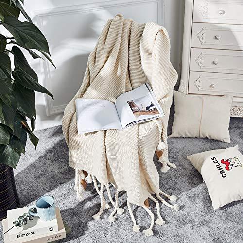 Trecce di Colore Puro Nordico Coperta a Maglia Nappa Divano Coperta Letto Coperta Siesta Coperta Bianco 130 * 170 cm