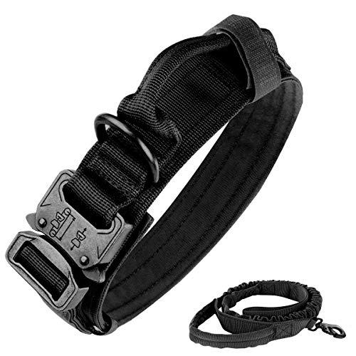 Taktisches Hundehalsband, Nylon, verstellbar, K9-Halsband, robuste Metallschnalle mit Griff, taktische Bungee-Hundeleine, Nylon, Militär-Hundeleine, Hundeleine und Halsband-Set