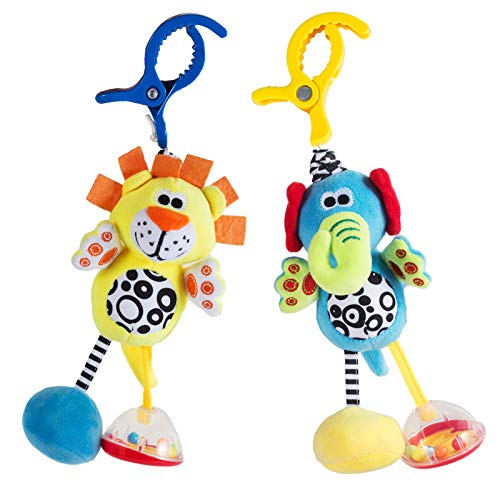 2 Pack Colorful Animal Rattle Toys for Babies with Sound  Baby Hanging Plush Toy Clip on Pram Pushchair Crib Car Seat  Infants Sensory Toys for 0~12 Months Old Boys and Girls