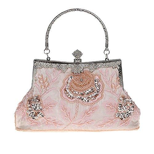 Heyjewels Handmade Damen Abendtasche Brauttasche Beaded Perlen Clutchtasche Glitzer Blumen Abendtasche (Pink)