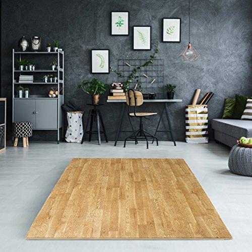 Sorbus Wood Grain Floor Mats Foam Interlocking Mats Tile 3/8-Inch Thick Flooring Wood Mat Tiles Borders - Home Office Playroom Basement Trade Show (12 Tiles, 48 Sq ft, Pine)