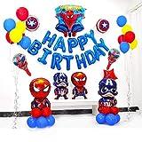 ENXI Globos de papel de Spiderman con globos de papel de aluminio Happy Brthday Capitán América, superhéroe, globo para niños, decoración de fiestas de cumpleaños