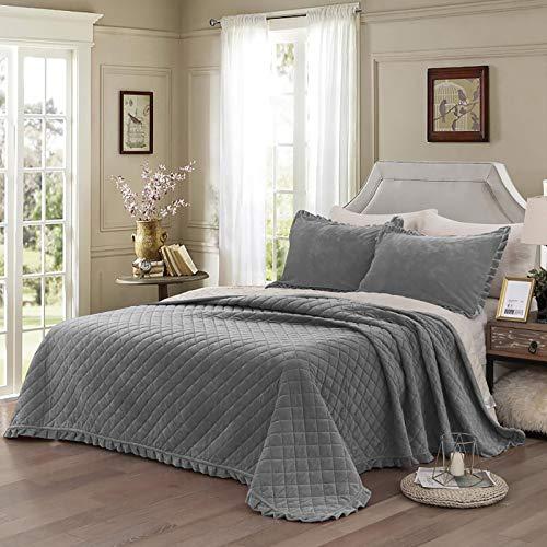 WONGS BEDDING Tagesdecke Bettüberwurf 240x260 cm Steppdecke Doppelbett gesteppt Kristallsamt 3 teilig Bettdecke Stepp Decke Tagesdecken mit 2 Kissenbezug 50 x 80cm für Schlafzimmer (Grau)